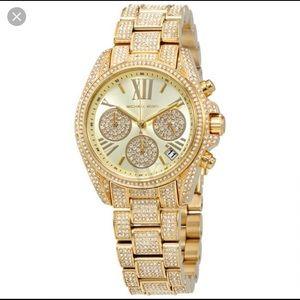 Michael Kors Gold Rhinestone Watch
